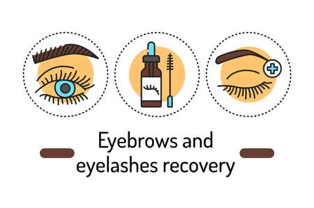 Eyebrows and eyelashes recovery outline concept. Beauty industry line color icons. Pictograms for web page, mobile app, promo