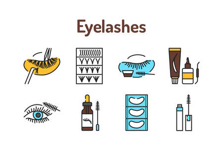 Eyelashes service color line icons set. Pictograms for web page, mobile app, promo 版權商用圖片 - 162791428