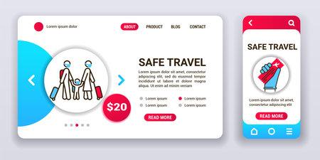 Safe travel web banner and mobile app kit. Social security. Outline vector illustration.