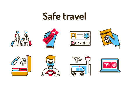 Safe travel color line icons set. Pictograms for web page, mobile app, promo. 向量圖像