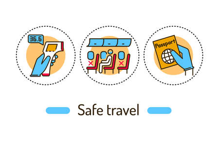 Safe travel outline concept. Social security line color icons. Pictograms for web page, mobile app, promo. 向量圖像