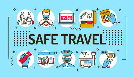 Safe travel word lettering typography. Infographics with linear icons on blue background. Creative idea concept. Isolated outline color illustration