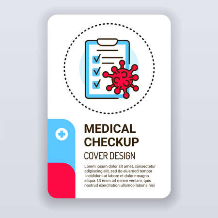 Medical checkup brochure template. Health care cover design. Print design with linear illustration cartoon character on a white background.