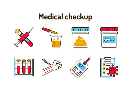 Medical checkup color line icons set. Laboratory diagnostics. Pictograms for web, mobile app, promo. UI UX design element 版權商用圖片 - 162791439