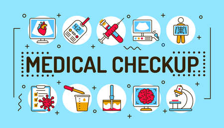 Medical checkup word lettering typography. Infographics with linear icons on blue background. Creative idea concept. Isolated outline color illustration