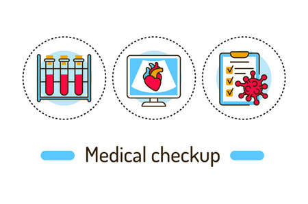 Medical checkup outline concept. Health care line color icons. Pictograms for web page, mobile app, promo