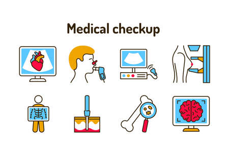 Medical checkup color line icons set. Laboratory diagnostics. Pictograms for web, mobile app, promo. UI UX design element 向量圖像