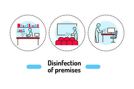 Mass disinfection outline concept. Cleaning service line color icons. Pictograms for web page, mobile app, promo. 向量圖像