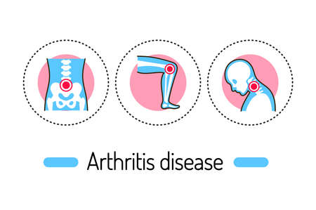 Arthritis disease outline concept. Inflammation joints line color icons. Pictograms for web page, mobile app, promo.