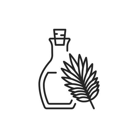 Palm oil glass bottle color line icon. 向量圖像