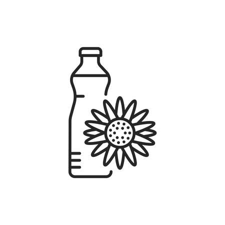 Sunflower oil glass bottle color line icon 向量圖像