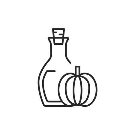 Pumpkin vegetable oil glass bottle color line icon. 向量圖像