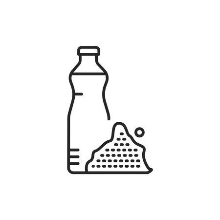 Mustard vegetable oil glass bottle color line icon.