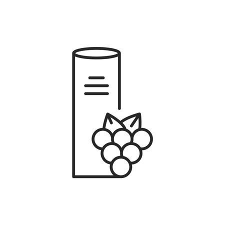 Grape seeds vegetable oil glass bottle color line icon.