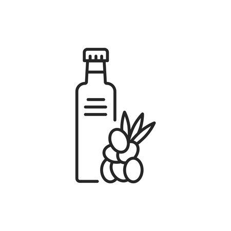 Sea buckthorn Vegetable oil glass bottle color line icon. 向量圖像
