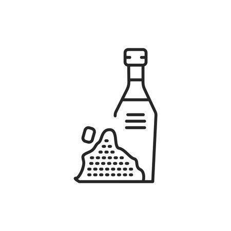 Black cumin vegetable oil glass bottle color line icon.