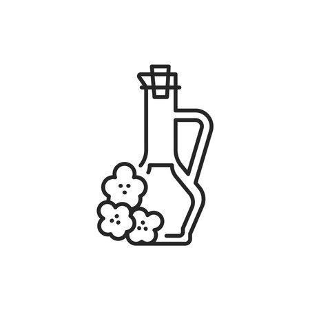 Rape vegetable oil glass bottle color line icon. 向量圖像