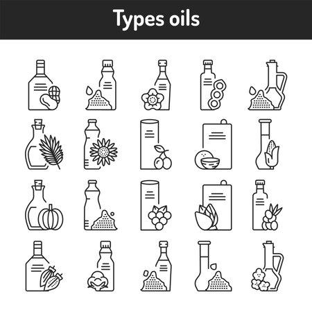 Types oils glass bottles color line icons set.