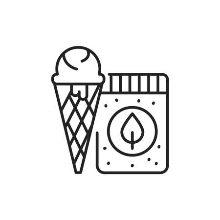 Organic natural ice cream color line icon. Pictogram for web page, mobile app, promo. 向量圖像