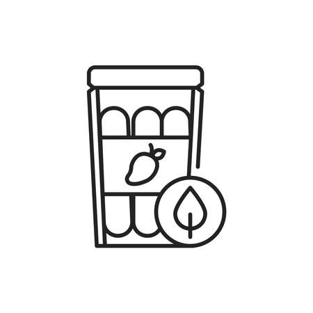 Dried mango packaging color line icon. Pictogram for web page, mobile app, promo. 向量圖像