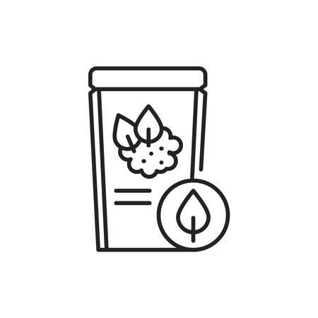 Matcha tea packaging color line icon. Pictogram for web page, mobile app, promo. 向量圖像