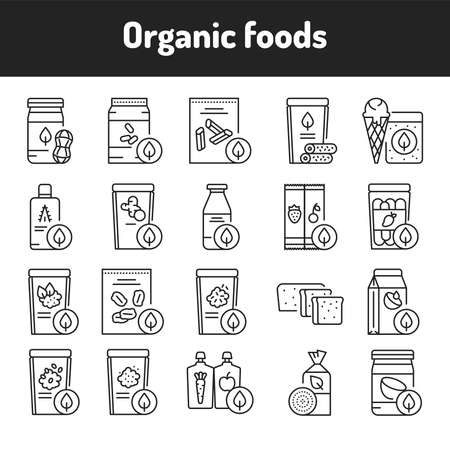 Organic foods color line icons set. Pictograms for web page, mobile app, promo.
