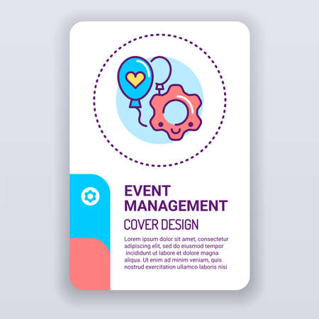 Event management brochure template. Service organization holidays cover design. Print design with linear illustration cartoon character on a white background.