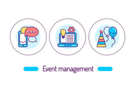 Event management outline concept. Service organization holidays line color icons. Pictograms for web page, mobile app, promo