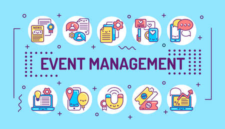 Event management word lettering typography. Infographics with linear icons on blue background. Creative idea concept. Isolated outline color illustration 向量圖像