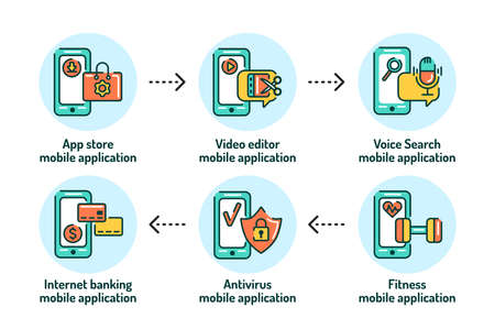 Mobile applications in smartphone outline concept. Pictograms for web page, mobile app, promo. 版權商用圖片 - 162791533