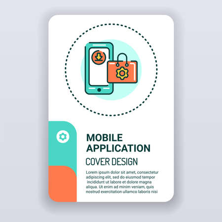 Mobile applications in smartphone brochure template. Digital technology cover design. Print design with linear illustration cartoon character on a white background 向量圖像