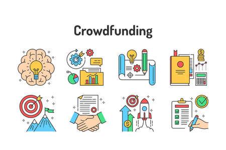 Crowdfunding color line icons set. Pictograms for web, mobile app, promo. UI UX design element