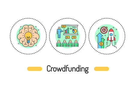 Crowdfunding outline concept. Investment line color icons. Pictograms for web page, mobile app, promo. 向量圖像