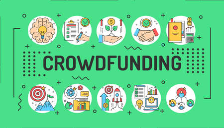 Crowdfunding word lettering typography. Infographics with linear icons on green background. Creative idea concept. Isolated outline color illustration