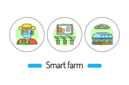 Smart farm outline concept. Plant and animal management line color icons. Pictograms for web page, mobile app, promo. 向量圖像