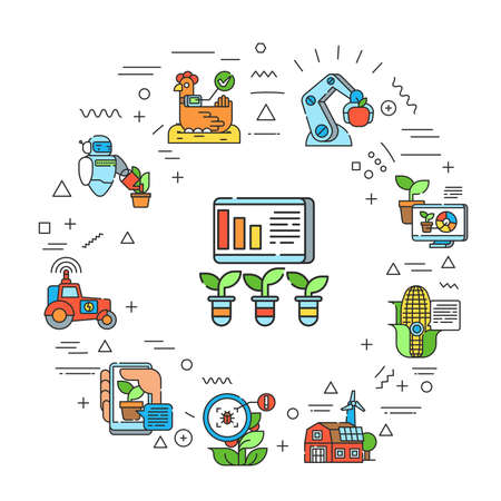 SMM promotion service web banner. Infographics with linear icons on white background. Creative idea concept. Isolated outline color illustration.