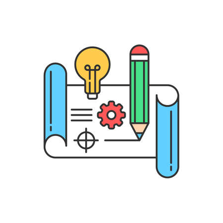 Prototype color line icon. New project. Pictogram for web page, mobile app, promo. UI UX GUI design element. Editable stroke 向量圖像