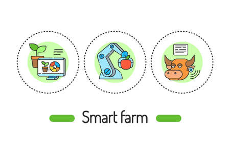 Smart farm outline concept. Plant and animal management line color icons. Pictograms for web page, mobile app, promo 向量圖像