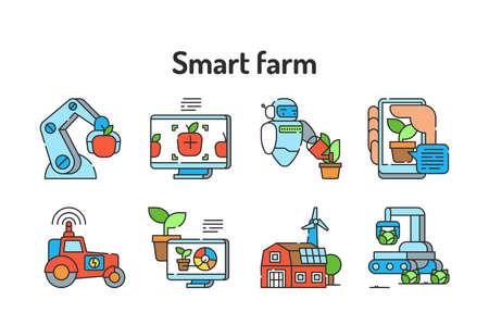 Smart farm color line icon. Plant and animal management. Sign for web page, app. UI UX GUI design element. Editable stroke.