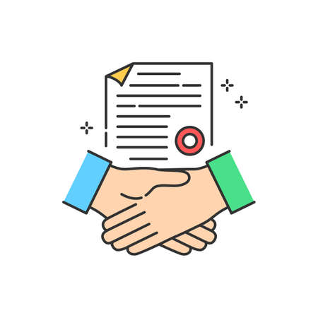Business deal color line icon. Handshake, partnership, cooperation.Crowdfunding. Sign for web page, app. UI UX GUI design element. Editable stroke 向量圖像