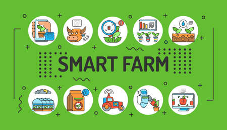 Smart farm word lettering typography. Infographics with linear icons on green background. Creative idea concept. Isolated outline color illustration