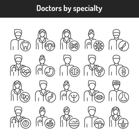 Doctors by specialty color line icons set. Subject matter experts. Pictograms for web page, mobile app, promo. UI UX GUI design element. Editable stroke.