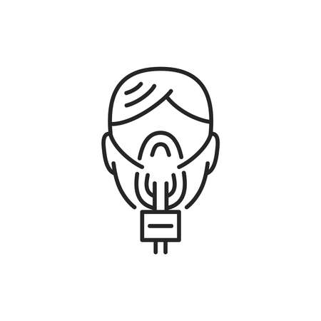 Woman in oxygen mask color line icon. Sign for web page, mobile app, button, logo. Editable stroke. Logo