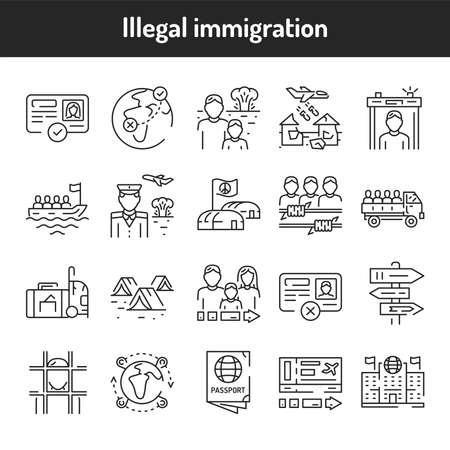 Illegal immigration color line icons set. Pictograms for web page, mobile app, promo. UI UX GUI design element. Editable stroke.