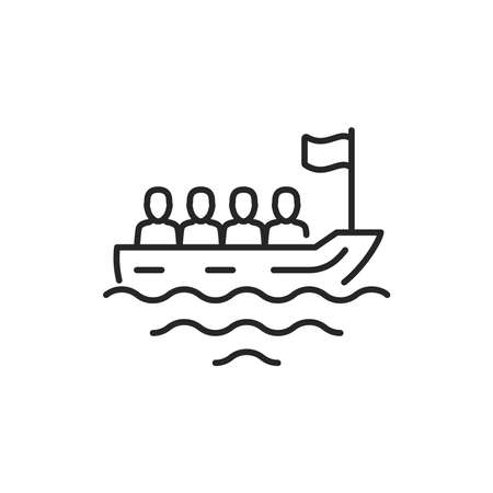 Boat transportation illegal immigrants color line icon. Sign for web page, mobile app, button, logo. Editable stroke.