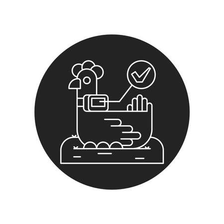 System monitoring the chicken, hen with help of sensors. Smart farming black glyph icon. Checking. Animal husbandry. Agricultural IOT. Sign for web page, app. UI UX GUI design element.Editable stroke.