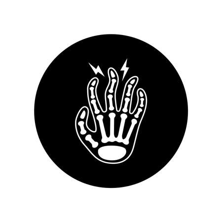 Fingers arthritis black glyph icon. Inflammation joint. Sign for web page, mobile app, button, logo