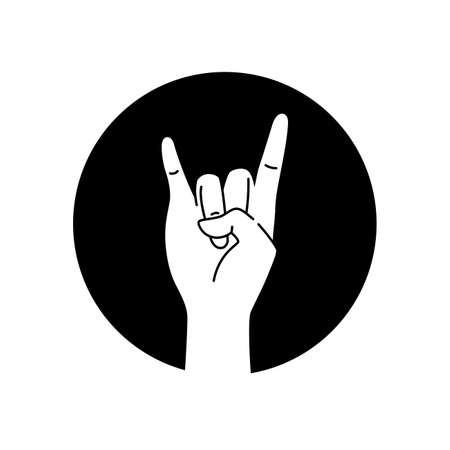 Hand showing coolness black glyph icon. Heavy metal hand gesture. Pictogram for web page, mobile app, promo. UI UX GUI design element. Editable stroke.