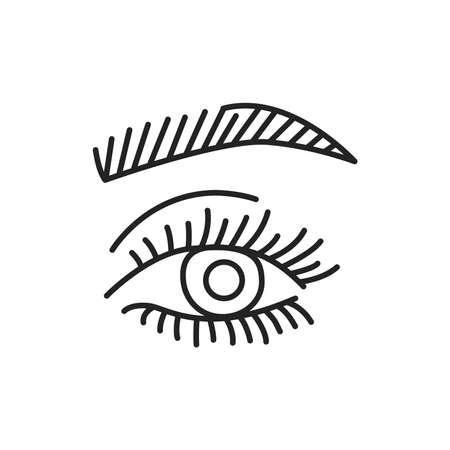 Eyelash and eyebrow lamination color line icon. Pictogram for web page, mobile app, promo. UI UX GUI design element. Editable stroke.