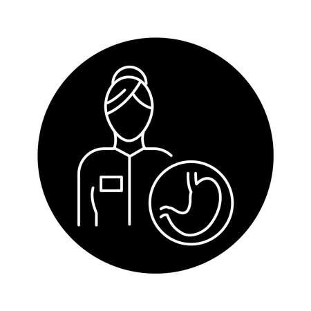 Gastroenterologist color line icon. Subject matter expert. Pictogram for web page, mobile app, promo. UI UX GUI design element. Editable stroke.